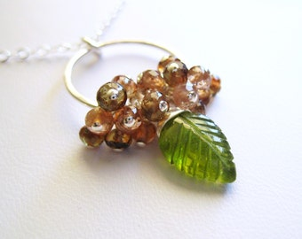 Evergreen ... Vesuvianite and Andalusite Sterling Silver Necklace