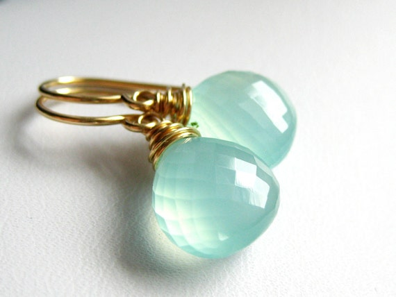 Surf ... Aqua Blue Chalcedony 14K Gold Filled Earrings