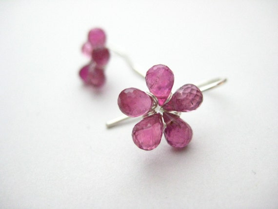 Plumeria ... Pink Tourmaline and Sterling Silver Earrings