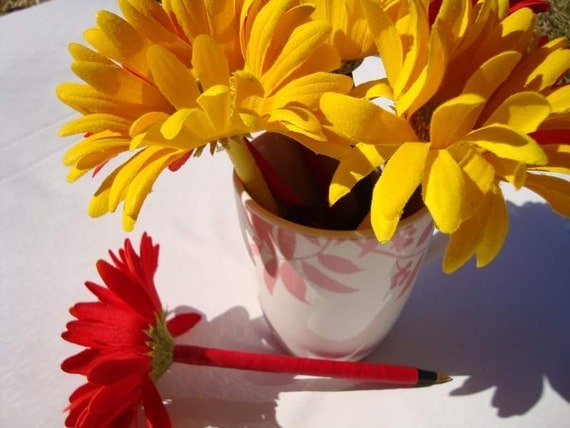 Lovely Red And Yellow Daisy Flower Pen Bouquet EARLY BLACK