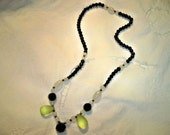 Vintage 1920s Art Deco Black Jet Glass Bead Necklace