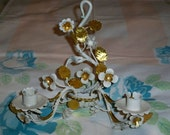 Vintage Tole Roses Candle Wall Sconce Candle Holder Gold Gilt Paint