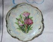 Vintage Pink Floral Pearlized China Plate Japan Mint Foil Label