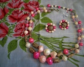 Vintage 1950s Art Glass Confetti Bead Necklace Earrings Set Japan