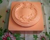 Vintage Art Nouveau Pink Celluloid Dusting Powder Box White Shoulders