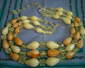 Vintage Caramel Yellow Plastic Lucite 3 Strand Necklace Western Germany