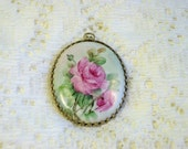 Vintage Pink Roses Hand Painted Porcelain Pendant