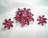 Vintage Pink Marquise Navette Rhinestone Floral Brooch Earrings Set