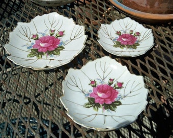 SALE! Vintage Floral Roses China Dishes Set of 3 Vanity Candy Soap Japan