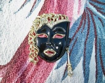 SALE! Vintage Mardi Gras Mask Rhinestone Brooch Figural Jewelry