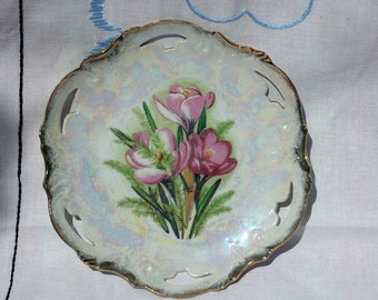 SALE! Vintage Pink Floral Pearlized China Plate Japan Mint Foil Label