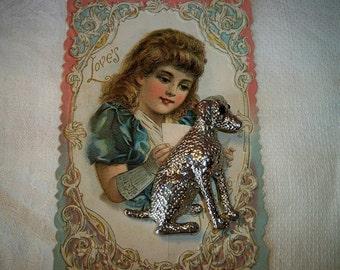 SALE! Vintage Silvertone Labrador Dog Brooch With Onyx Eyes