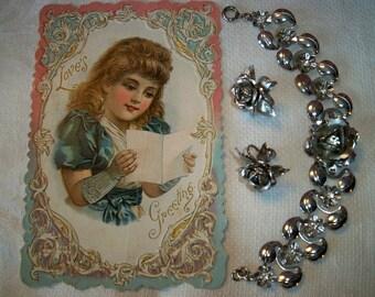 Vintage Silvertone Roses Rhinestone Bracelet Earrings Set