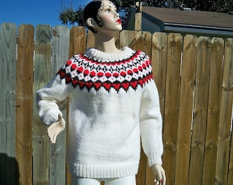 SALE! Vintage Ladies Icelandic Ski Sweater Handmade
