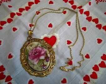 Vintage Roses Porcelain Pendant Necklace Brass Gold Filled