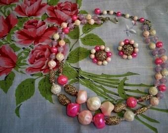 Vintage 1950s Art Glass Confetti Bead Necklace Earrings Set Japan