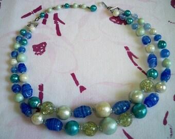 Vintage Blue Art Glass Confetti Lucite Bead Necklace Japan