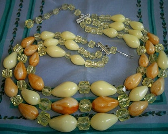 SALE! Vintage Caramel Yellow Plastic Lucite 3 Strand Necklace Western Germany