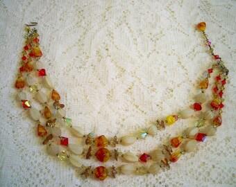 SALE! Vintage 1940s Art Glass Aurora Borealis Crystal Beaded Necklace