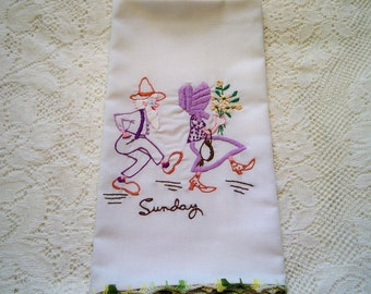 Vintage Country Hoedown Sunday Kitchen Towel Guest Towel