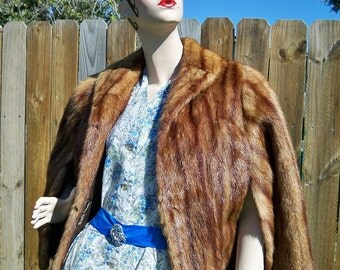 SALE! Vintage 1940s Golden Brown Red Highlighted Mink Cape Wrap