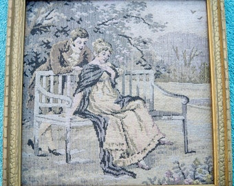 SALE! Antique 1920s Courting Couple Tapestry Golden Wood Frame