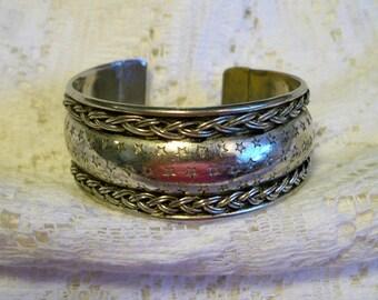 Vintage Patriotic Stars Silver Tone Cuff Bracelet