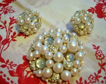 Vintage Robert Mandle Rhinestone Pearl Moonstone Brooch and Earrings Set