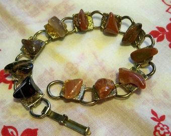 SALE! Vintage 1950s Amber Rock Agate Bracelet Artisan Tribal