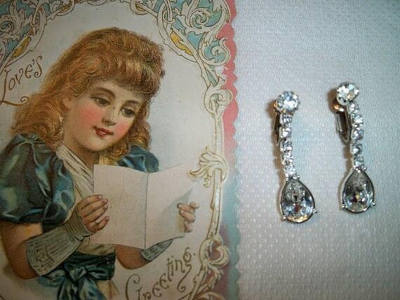 Vintage Sterling Silver Rhinestone Dangling Earrings