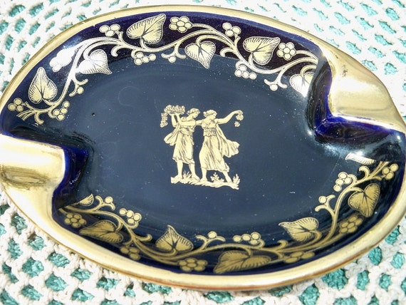 Vintage Greek Ladies Grapevine Ashtray 24K Gold Accents Mad Men
