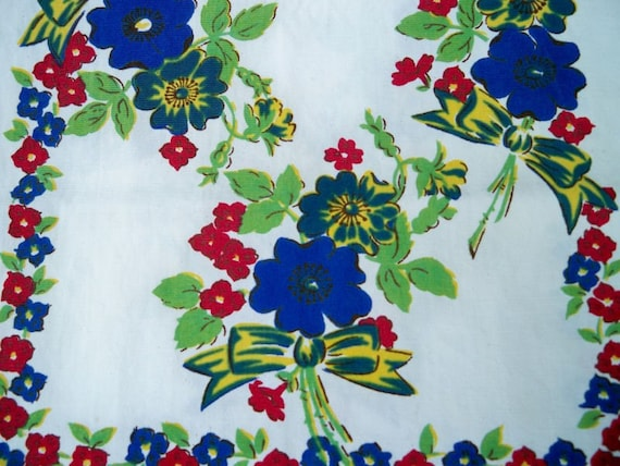 Vintage 1940s Floral Bows Kitchen Towel