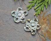 Handmade Silver multi hole Sea Urchin Flower component pair