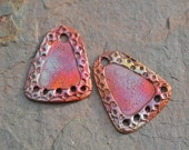 Handmade Copper 5 hole Square Drops (one pair)