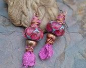 Aladdin's Lamp Sari Silk and Lampwork Glass Earrings - KristiBowmanDesign