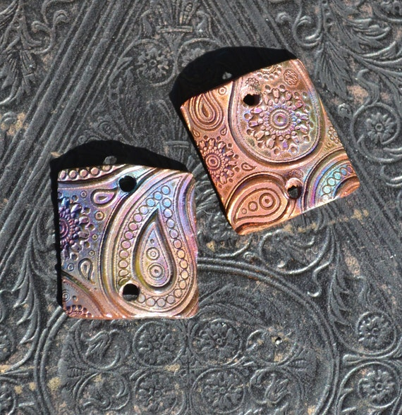 Copper Domed Just Paisley square charms