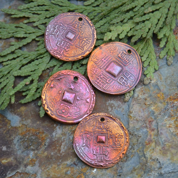 Handmade Copper Coin pendant or earrings component(1)