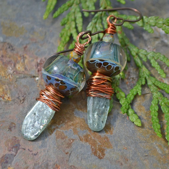Spring Rain Handmade Lampwork and Green Kyanite Earrings