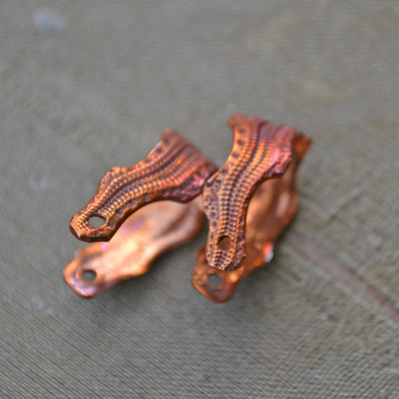 SPECIAL ORDER FOR wombatpriscilla1 Handmade Copper Snakeskin Earring/Bead Bail two (2) Pair