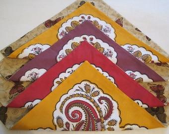 Cloth Napkins, Set of 4, Reversible, 100% Cotton, French Fabric - Jardin de Papillon  - Item #N0045