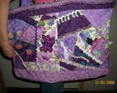 Extra Large Purple Crazy Patchwork  Tote Bag with lots of Embellishments