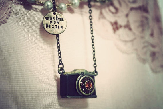 Traveler. Nostalgic honey crystal filled camera pendant with a hand stamped antiqued brass tag necklace