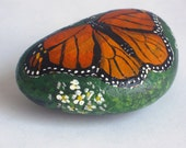 Hand Painted Monarch Butterfly Rock