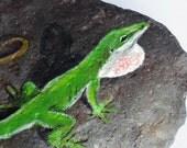 Green Anole Lizard Painted Rock