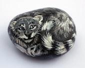 Hand Painted Snow Leopard Cub Rock