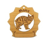 7236 Manx Cat Personalized Wood Ornament - gclasergraphics