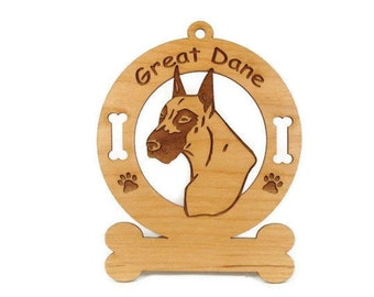 3293 Great Dane Head Personalized Dog Ornament