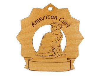 7026 American Curl Cat Personalized Wood Ornament