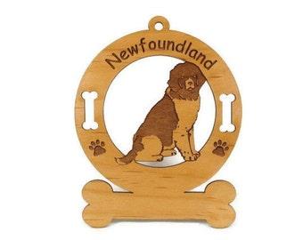 3597 Newfoundland Sitting Personalized Wood Ornament