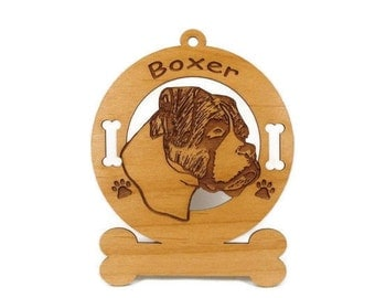 1949 Boxer Head Uncropped Personalized Wood Ornament